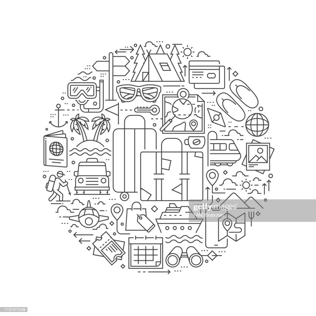 Tourism line icons in round shape isolated vector illustration