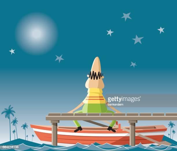 Toeristische at night met sterren