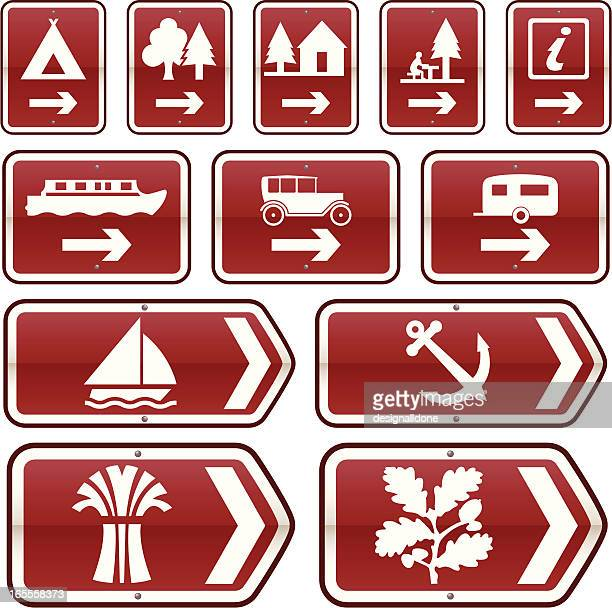uk tourist attractions road signs (set 1) - natural parkland stock illustrations, clip art, cartoons, & icons