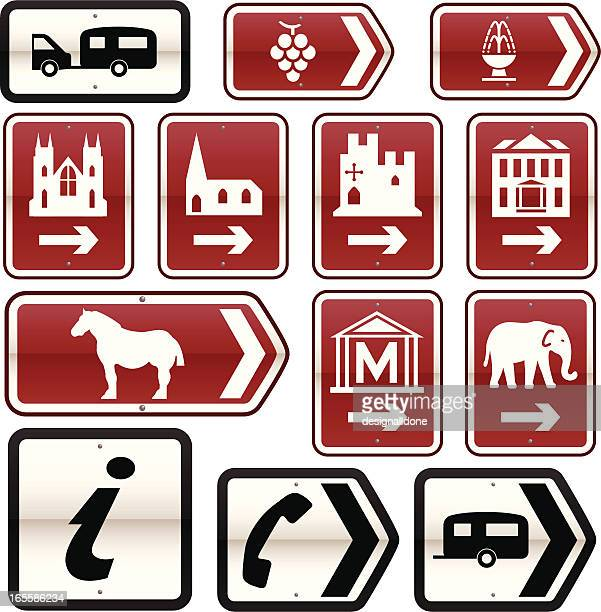 uk tourist attractions road signs (set 2) - road sign stock illustrations, clip art, cartoons, & icons