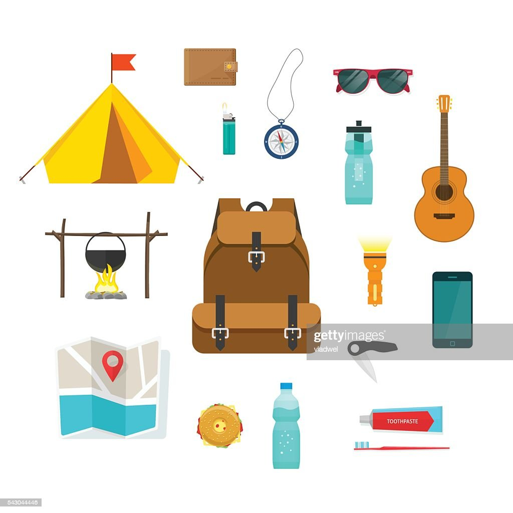 Tourist backpack with camping hiking things equipment to travel isolated