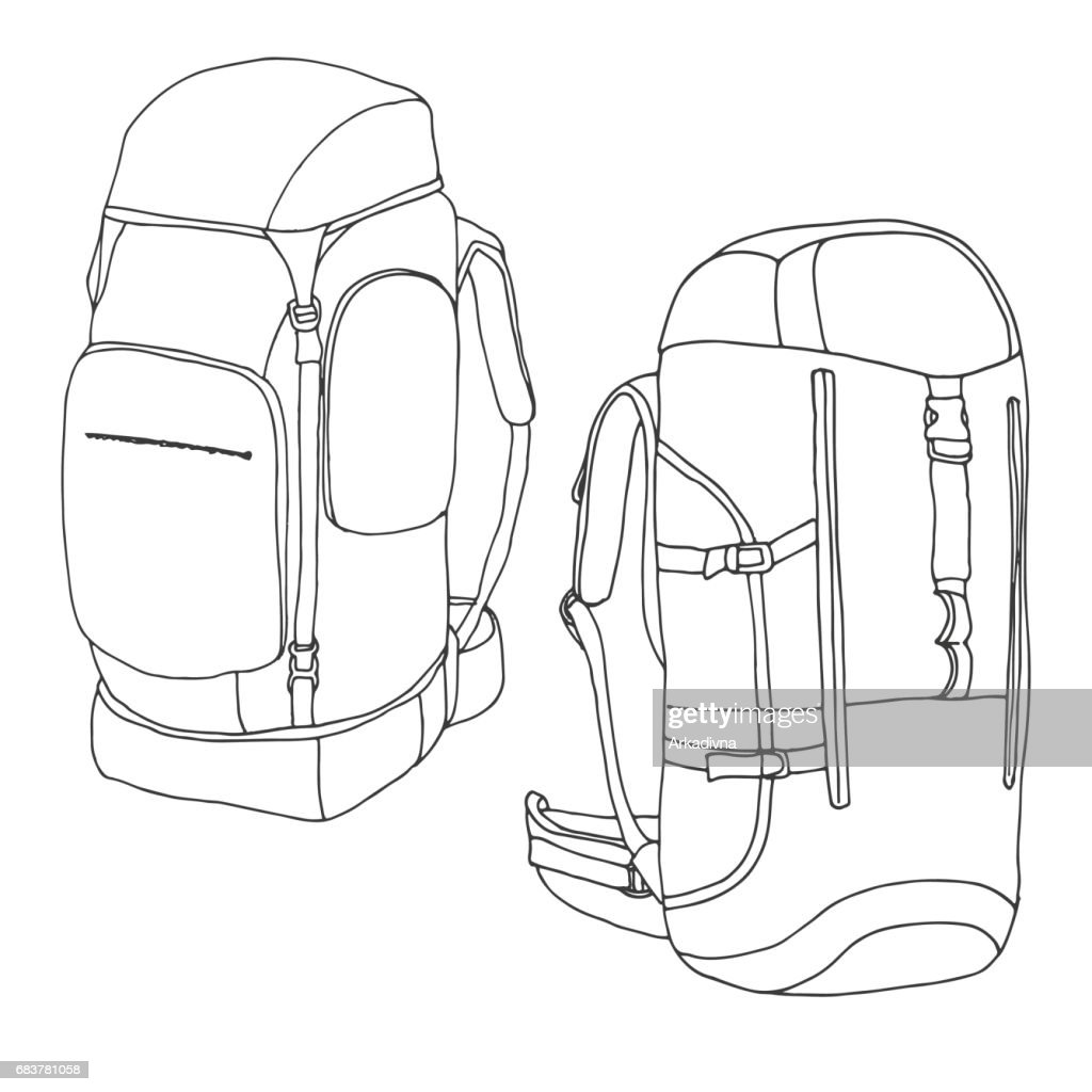 3980360f1af Tourist backpacks isolated on white background. Hand drawn vector  illustration of a sketch style.