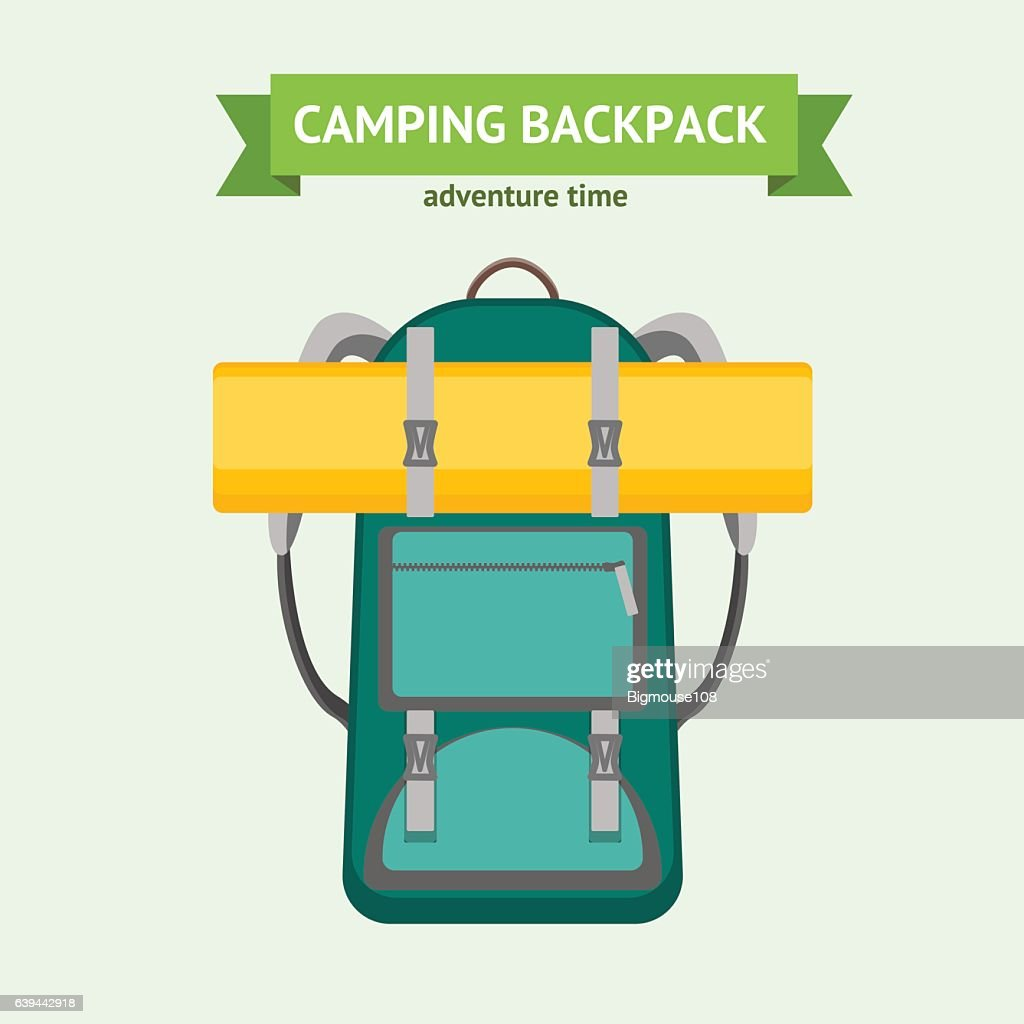 Tourist Camping Backpack Card. Vector
