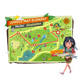 tourist girl with jungle map elements. tourist girl character walk and holding jungle map - vector