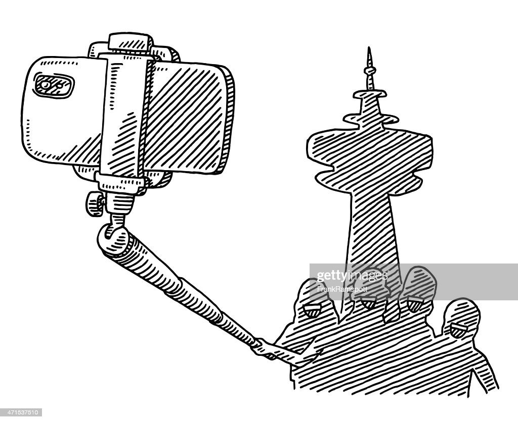 Tourist Group Taking A Photo Selfie Stick Drawing High-Res ...  Tourist Group T...