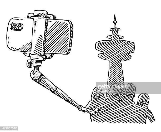 ilustraciones, imágenes clip art, dibujos animados e iconos de stock de grupo turístico tomando una foto autofoto stick dibujo - encuadre de cuerpo entero