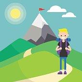 Tourist in mountains. Outdoor activity. Vector illustration, clip art. Flat illustration