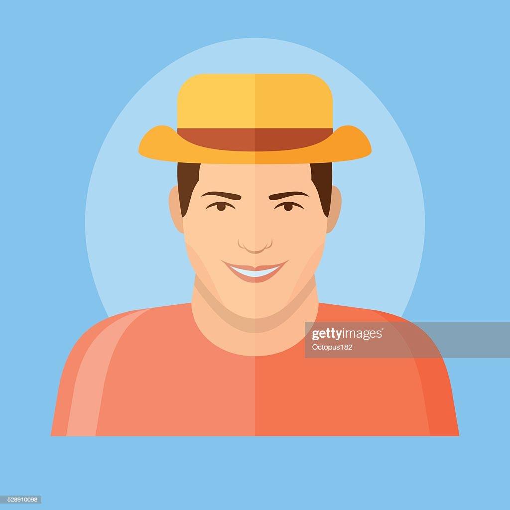 fab7d306c98afe ... clearance tourist man in hat flat icon vector art a7c62 236da
