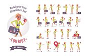 Tourist man with luggage character set, various poses and emotions