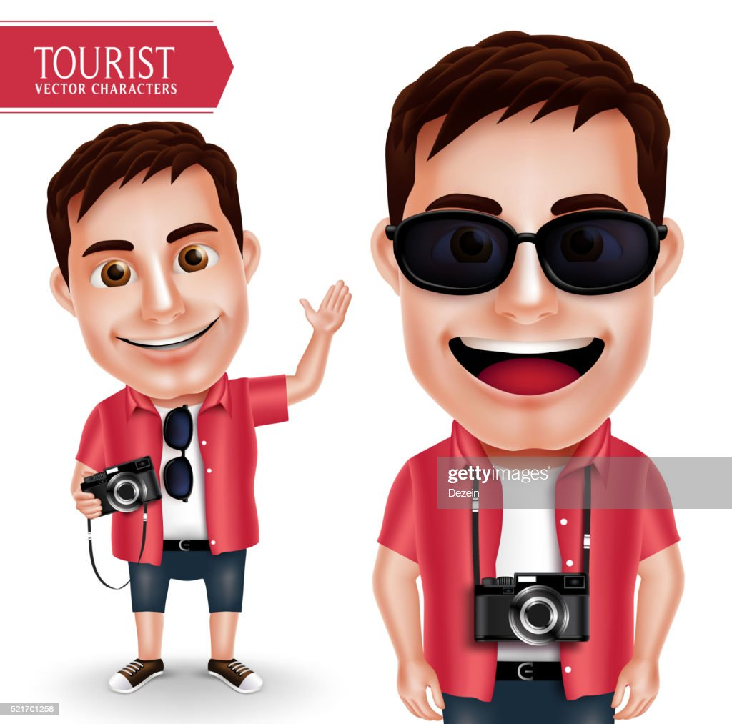 Tourist Photographer Man Vector Character Wearing Casual Holding Camera Waving