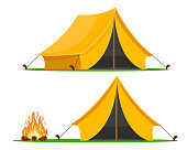 Tourist tent with different angles and a campfire on a white background.