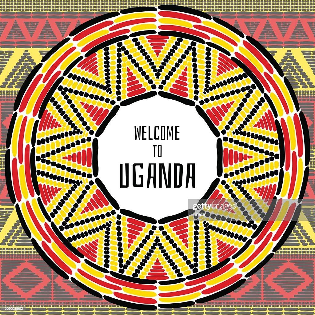 Tourist tribal Uganda vector design. African ethnic print