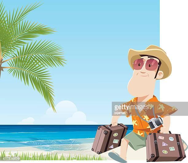 tourist - hawaiian shirt stock illustrations