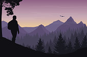 A tourist walking through a mountain landscape with a forest and watching a flying bird under a morning sky with a dawn - vector