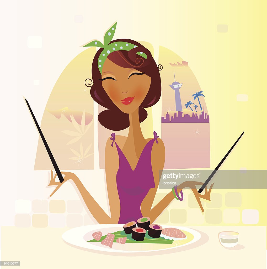 Tourist woman eating exotic Sushi food i in asia restaurant