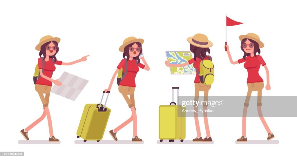 Tourist woman in trip situations