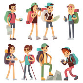 Tourists people characters for hiking and trekking, holiday travel vector concept
