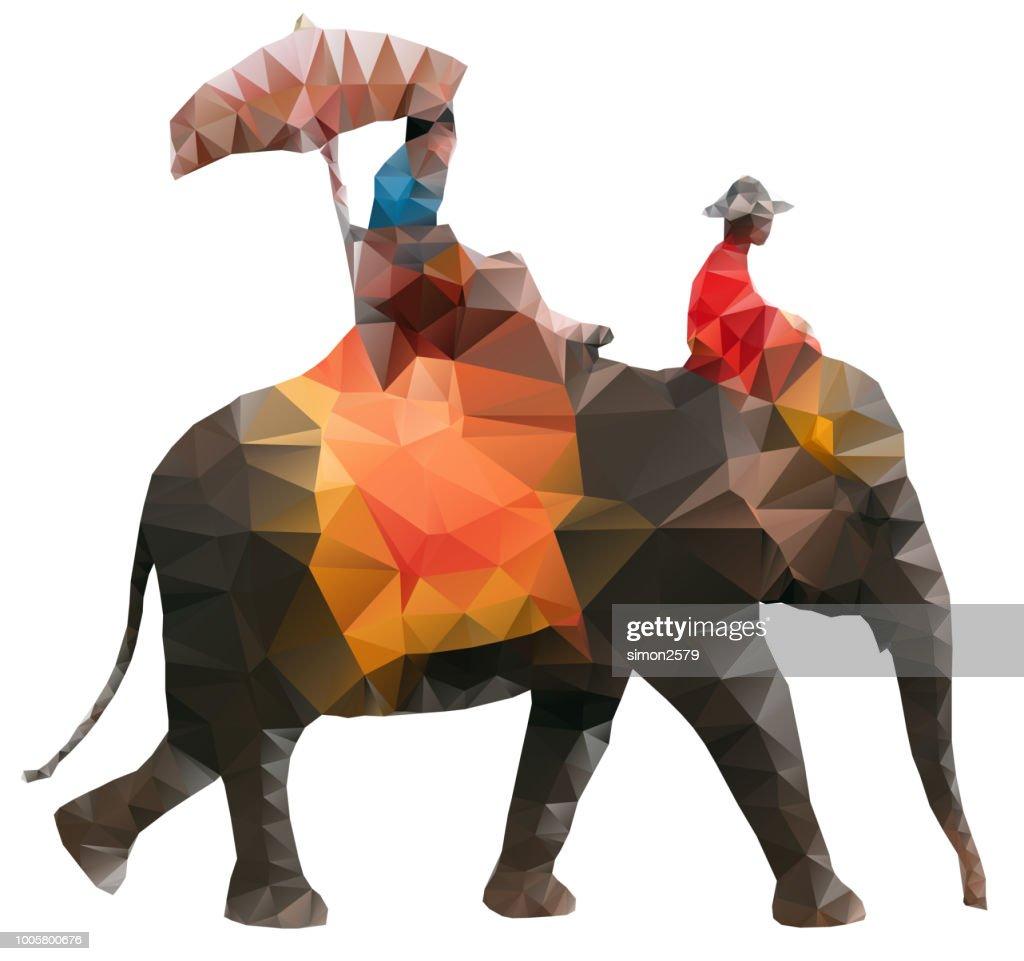 Tourists riding on an Asian elephant : stock illustration