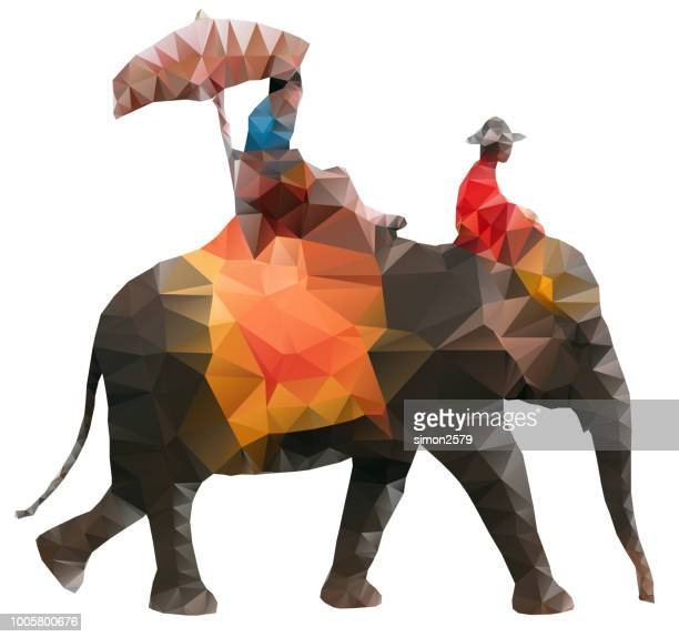 Tourists riding on an Asian elephant