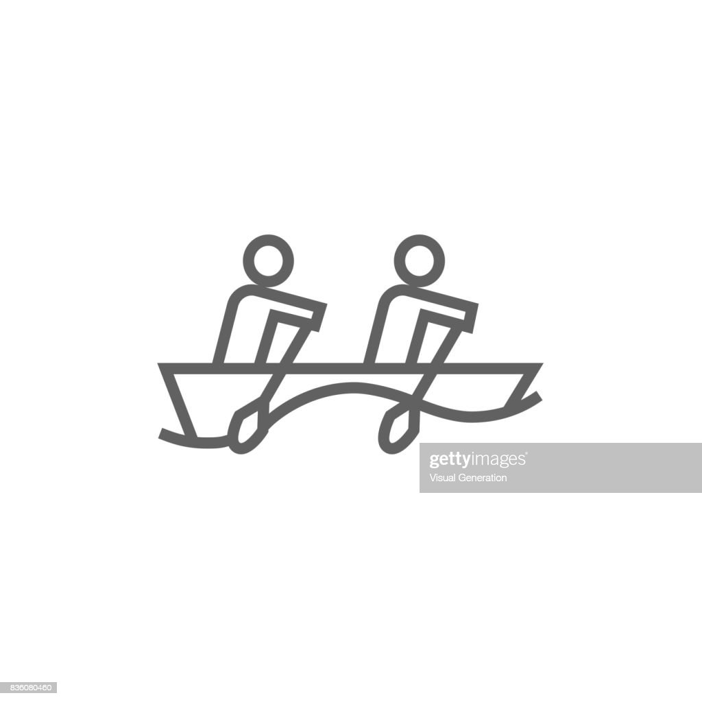 Tourists sitting in boat line icon