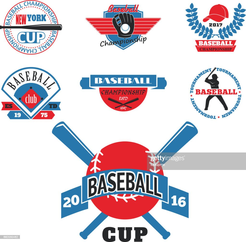 Tournament competition graphic champion professional blue red baseball icon badge sport vector
