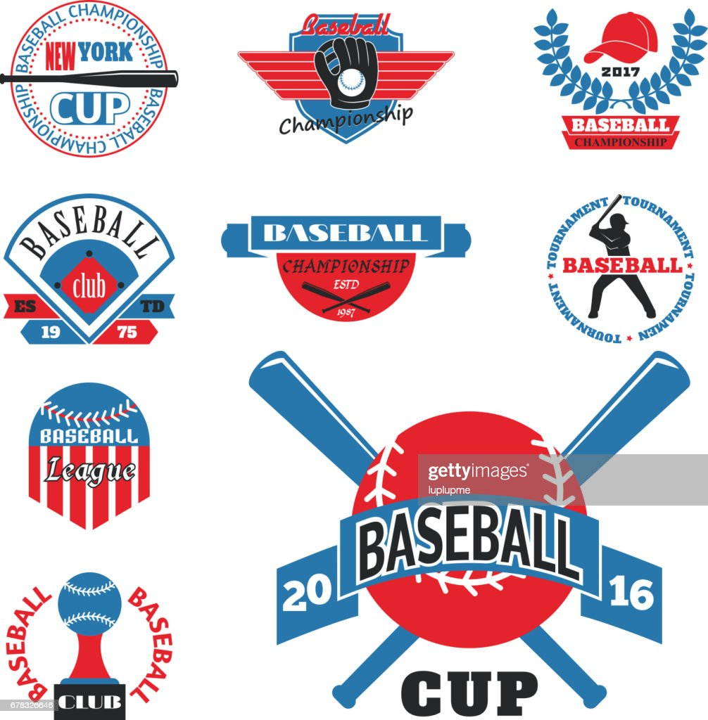 Tournament competition graphic champion professional blue red baseball logo badge sport vector