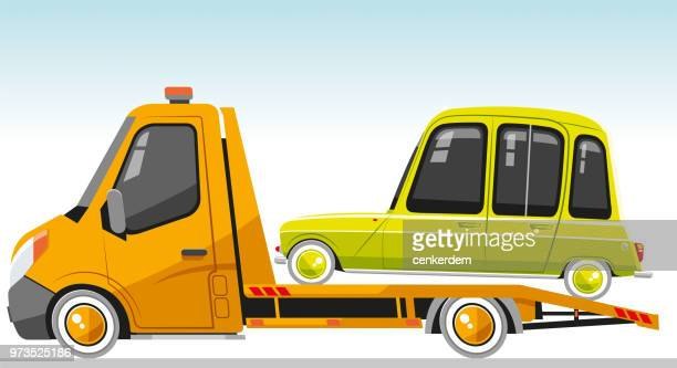 tow truck and vintage - bad condition stock illustrations