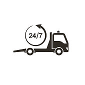 Tow truck icon, Car towing truck 24h sign. Vector isolated illustration