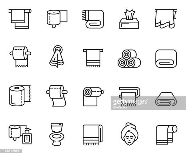towel and napkin icon set - towel stock illustrations