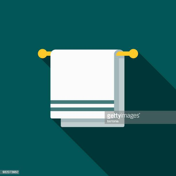 Towel Flat Design Cleaning Icon with Side Shadow