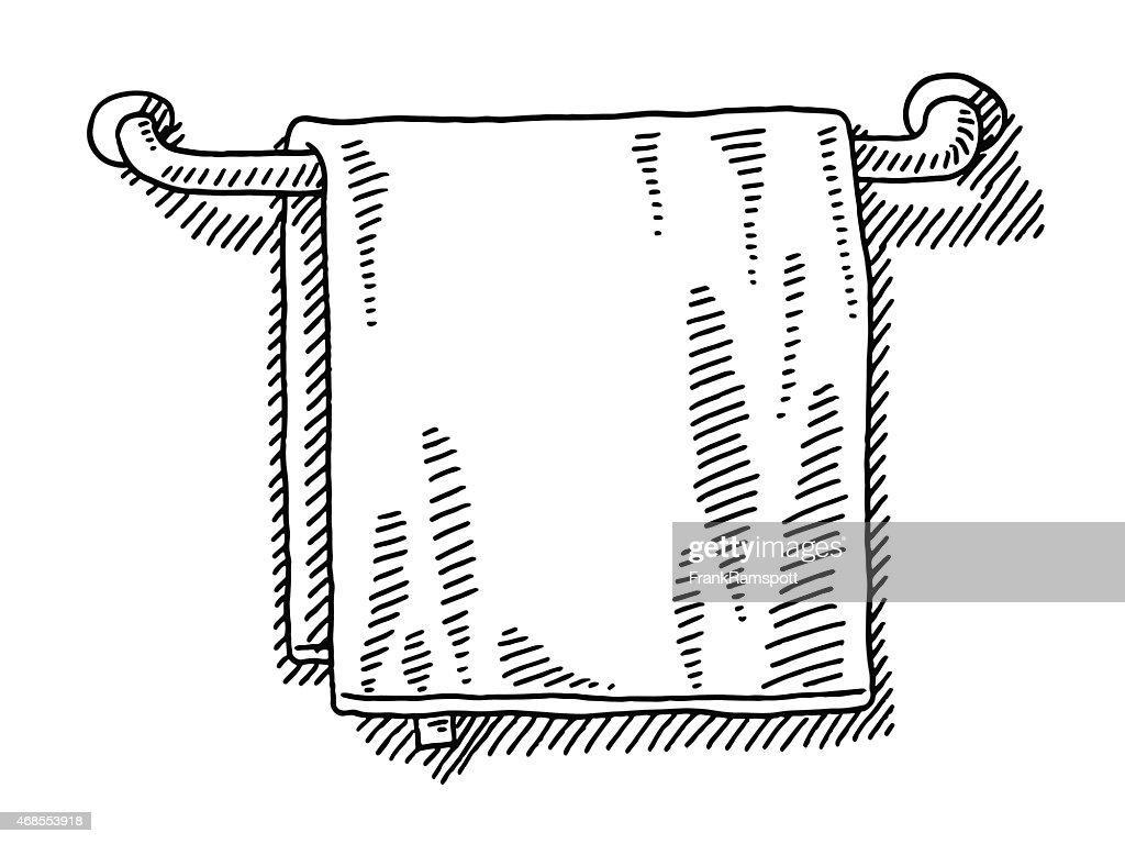serviette suspendue sur un rail de dessin dans la salle de bains clipart vectoriel getty images. Black Bedroom Furniture Sets. Home Design Ideas