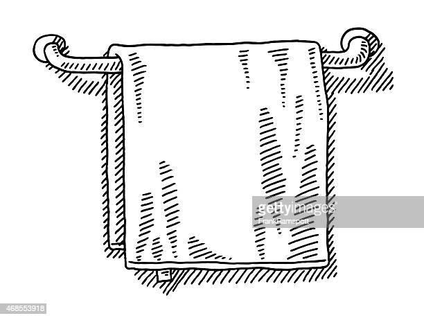 Towel Hanging On A Rail Bathroom Drawing