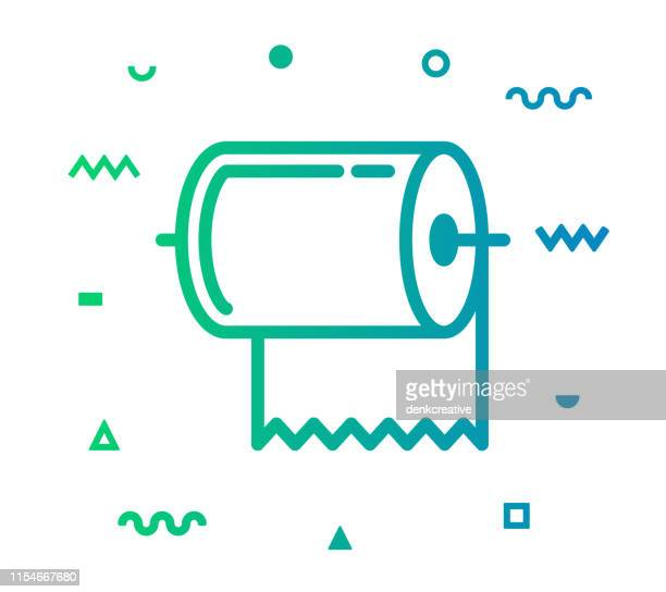 towel line style icon design - paper towel stock illustrations, clip art, cartoons, & icons