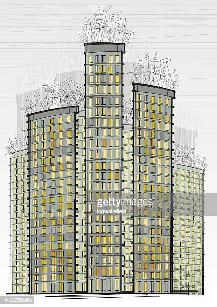 tower blocks with tv aerials - television aerial stock illustrations, clip art, cartoons, & icons