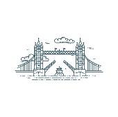 Tower Bridge in London raised.