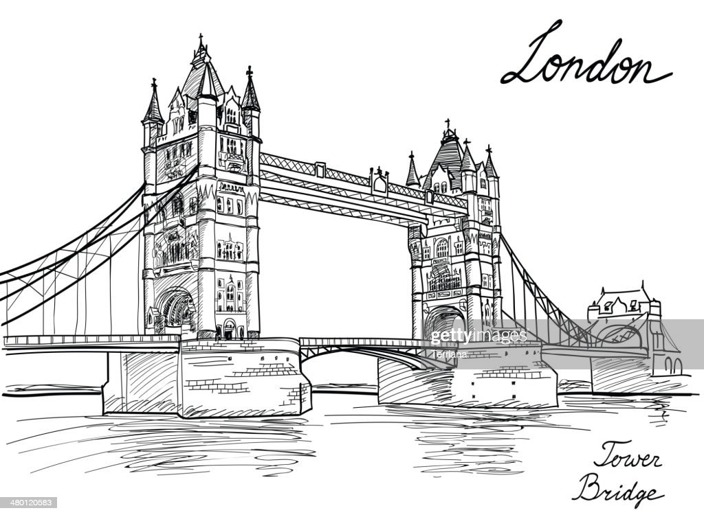 Tower Bridge, London, England, UK. Landmark sketch background.