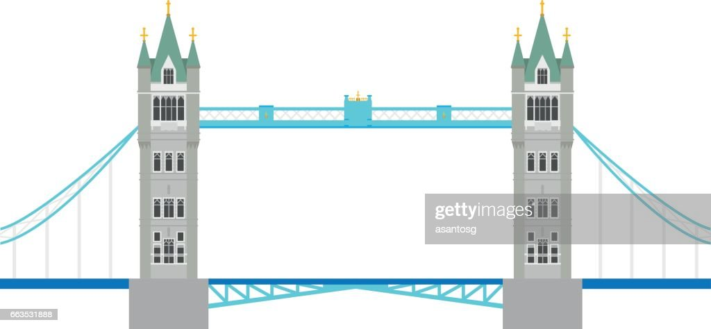 Tower Bridge, London, UK. Isolated on white background vector illustration.