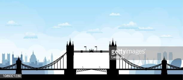 tower bridge, london (all buildings are moveable and complete) - london england stock illustrations