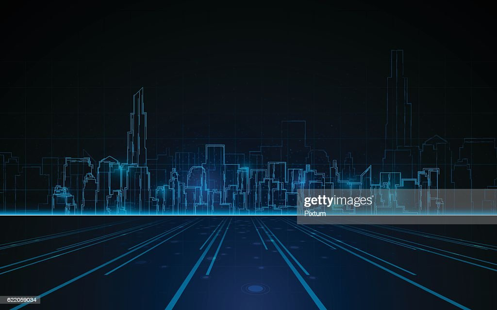 tower cityscape blue light design tech sci fi concept background