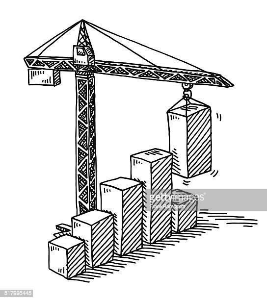 tower crane construction bar chart success drawing - rod stock illustrations, clip art, cartoons, & icons