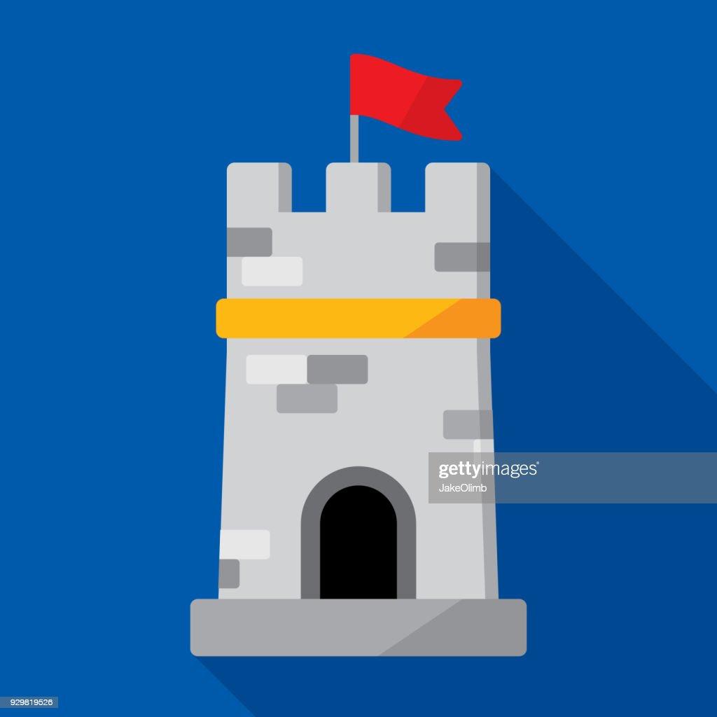 タワーのアイコン フラット : ストックイラストレーション