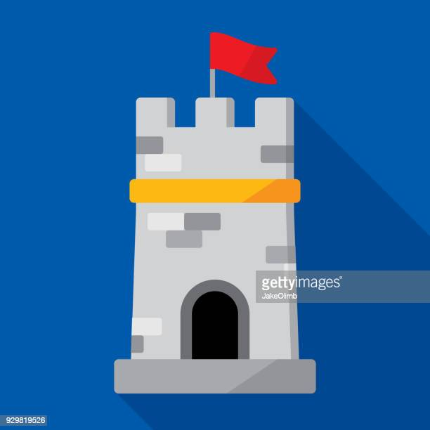 tower icon flat - castle stock illustrations