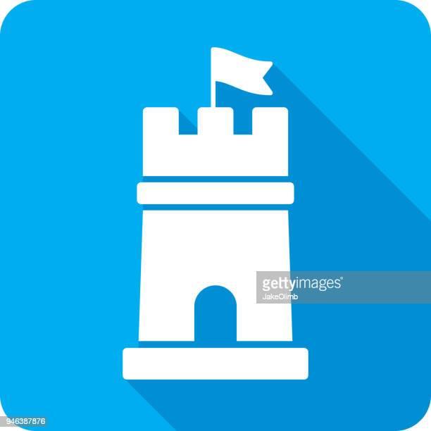 ilustraciones, imágenes clip art, dibujos animados e iconos de stock de torre icono silueta - torre pieza de ajedrez