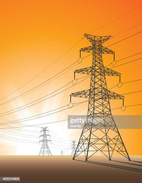 tower in sunrise - steel cable stock illustrations, clip art, cartoons, & icons