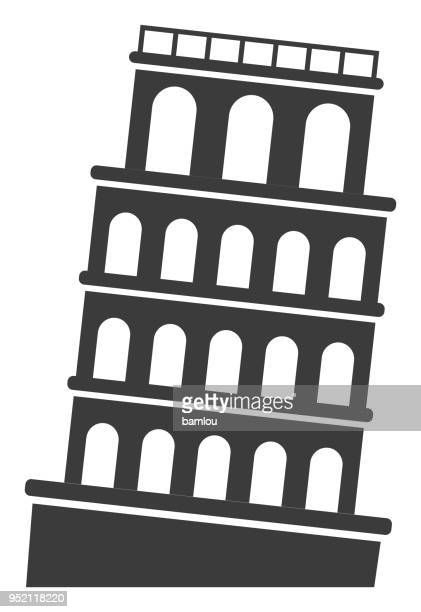 tower of pisa icon - leaning tower of pisa stock illustrations, clip art, cartoons, & icons
