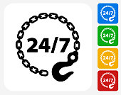 24/7 Towing Service Icon Flat Graphic Design