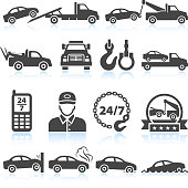 Towing truck black & white royalty free vector icon set
