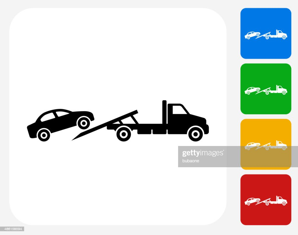 Towing Truck Icon Flat Graphic Design Vector Art