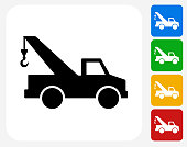 Towing Truck Icon Flat Graphic Design