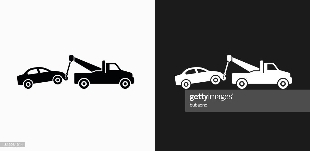 Towing Truck Icon On Black And White Vector Backgrounds Vector Art